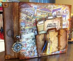 Travel Album made by Kathy Orta for Tim Holtz CHAW 2012 - inside is awesome - link has more pics