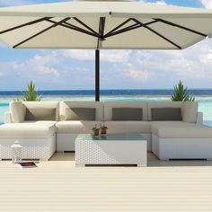 chaise lounge outdoor furniture Uduka Outdoor Sectional Patio Furniture White Wicker Sofa Set Diani Dark Grey All Weather Couch White Patio Furniture, Sectional Patio Furniture, Weathered Furniture, Outside Furniture, Outdoor Wicker Furniture, Wicker Sofa, Garden Furniture, Outdoor Sectional, Furniture Ideas