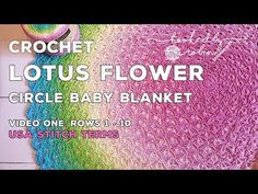 Lotus Flower Circle Blanket - crochet video - Rounds 11 - 23 and how to increase. How to crochet the first 10 rounds of the blanket (I point to the wrong side of the video LOL): . Crochet along with me and create your very own Lotus Flower Blanket - a Crochet Afgans, C2c Crochet, Manta Crochet, Crochet Round, Afghan Crochet Patterns, Crochet Videos, Baby Blanket Crochet, Crochet Shawl, Free Crochet