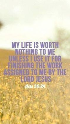 Bible Verse Of The Day: But my life is worth nothing to me unless I use it for finishing the work assigned me by the Lord Jesus–the work of telling others the Good News about the wonderful grace of God. Bible Verses Quotes, Bible Scriptures, Acts Bible, Godly Quotes, Christian Life, Christian Quotes, Acts 20 24, Soli Deo Gloria, All That Matters