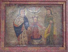 """Retablo """"Sagrada Família"""" colonial venezolano siglo XVIII, Edo. Lara, Oleo/latón, med: 33X25 cms."""