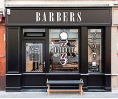 Barber shop window 2 of 4 barber shop opening hours times window sticker barber pole sign . Barber Shop Decor, Barber Store, Visual Merchandising, Barbershop Design, Barbershop Ideas, Pole Sign, Window Signs, Shop Window Displays, Salon Design