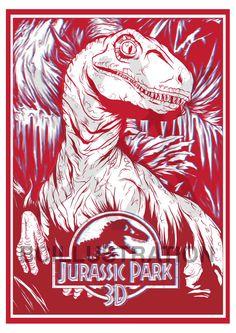 39c953b1dd5 Limited Edition 3D Jurassic Park Raptor Print A3 Plus 3D Glasses. Limited  Run Of Ten