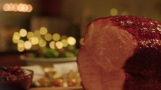 Kirsch and honey-glazed ham with Christmas compote