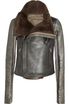 Rick Owens | Metallic leather and shearling biker jacket