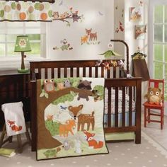 This storybook collection includes the sweetest little characters in earth tone colors surrounded by a large appliqued corduroy tree with dimensional leaves.  Our soft, cuddly animals include deer, a mischievous fox, friendly raccoon, happy bunny with a furry tail, and wise little owls.