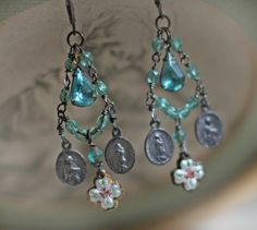 Still Waters - vintage assemblage earrings holy medals guilloche slider cross aqua blue rhinestones crowned by grace