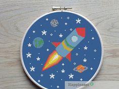 cross stitch pattern rocket, modern cross stitch, space, PDF,  ** instant download**