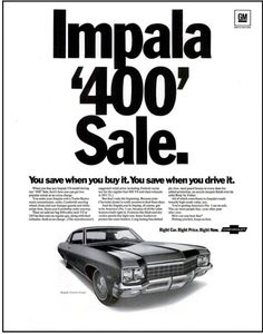 "Chevrolet Chevelle /& Impala 1964 GM Harrison Original Print Ad 9 x 11/"""