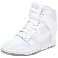Nike Sportswear DUNK SKY Hightop trainers/wolf grey (3,755 INR) ❤ liked on Polyvore featuring shoes, sneakers, nike, sapatos, white, grey wedge sneakers, nike sneakers, white leather shoes, white wedge sneakers and wedge sneakers
