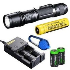 Flashlight Pack Of The Day: Fenix PD35 Tactical Flashlight with Nitecore 18650 Li-ion rechargeable battery, Nitecore i2 intelligent Charger,...