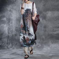 Women summer retro style linen dress
