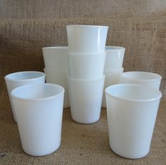 white glass Milk Glass Cups by RaggedyRee on Etsy