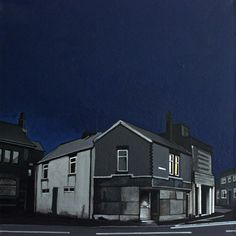 "Saatchi Online Artist: Deborah Batt;  ""Dwellings"" acrylic & pen on canvas 16x16x2 in"