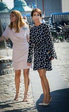 """(L-R) Britt Siesbye and Princess Marie of Denmark attending the opening of """"Copenhagen Cooking"""" event at Toldboden in the harbour, Copenhagen, August 21, 2015."""