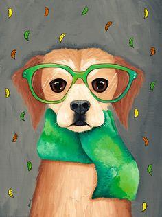 DOG Art Autumn Dog in a Scarf - Original Folk Art Portrait Painting Art And Illustration, Illustrations, Frida Art, Art Populaire, Whimsical Art, Art Plastique, Dog Art, Pet Portraits, Painting Inspiration