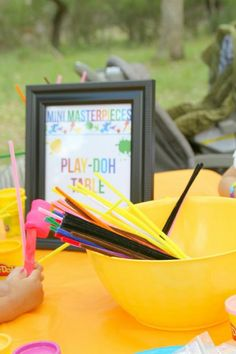 Art Party Activities- Play dough Station!