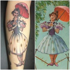 """oh my good grief - """"My Haunted Mansion stretching portrait lady, done by Ian Parkin of Inkslingers - Newcastle UK. Looks slightly distorted because it wraps round my chicken legs and getting the alligator when im brave enough to have my heel done"""""""