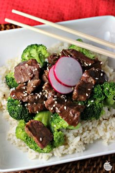Slow Cooker Beef and Broccoli is a flavorful meal. Strips of flat iron steak are cooked low and slow in a delicious sweet and savory sauce until they are fork tender and then are served over rice and steamed broccoli for an easy dinner. Crockpot Dishes, Crock Pot Slow Cooker, Crock Pot Cooking, Slow Cooker Recipes, Beef Recipes, Cooking Recipes, Crockpot Meals, Recipies, Cook Meals