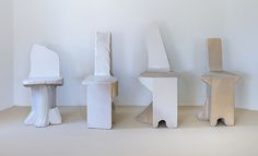 Max Lamb | White Poly Chairs | 2015, Plastic Coated Polysterene | Unique | UK http://www.galleryfumi.com/Artists/Max-Lamb/