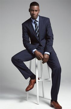 BOSS Black Suit & Dress Shirt | Nordstrom--- nothing beats a crisp navy suit with brown shoes!