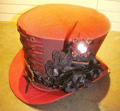 Steampunk madhatter Hand made Red taffeta Top Hat with flower #Raven #SteampunkVictorianGothic