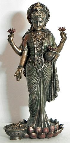 Lakshmi, the Hindu goddess most commonly associated with wealth, fortune, and all forms of material and spiritual prosperity. Indian Goddess, Goddess Art, Goddess Lakshmi, Lakshmi Statue, Krishna Statue, Saraswati Statue, Hindu Statues, Lakshmi Images, Lord Shiva Family