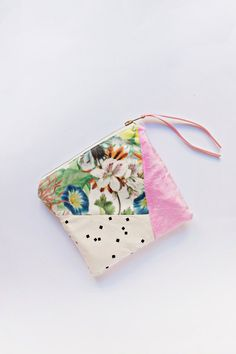 Mixed fabric make up bag - zipper pouch by LRS