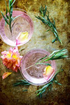 Rose and Tarragon Gin Lemonade - Heather Christo Gin And Lemonade, Lemonade Cocktail, Cocktail Drinks, Alcoholic Drinks, Beverages, Wine Cocktails, Sangria, Craft Cocktails, Summer Cocktails