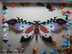 Картина панно рисунок Оригами китайское модульное Бабочка Бумага фото 1