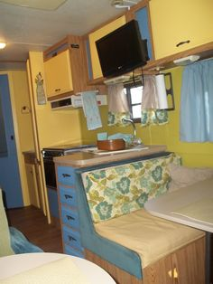 I LOVE LOVE LOVE the colors of this little RV kitchen!