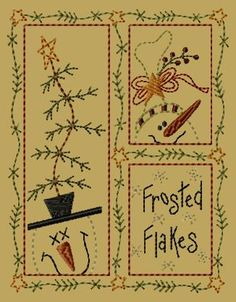 PK029 Frosted Flakes - 5x7: Primitive Keepers, Prim Machine Embroidery Designs