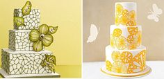 painted wedding cakes....i paint on some of my cupcakes, bet this wouldn't be too hard...