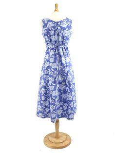 Pareau Blue Cotton Hawaiian Midi Dress