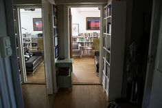 small bookshelves in the hallway