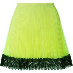 Christopher Kane pleated tulle skirt (€505) ❤ liked on Polyvore featuring skirts, high-waist skirt, tulle skirt, green a line skirt, knee length a line skirt and green skirt