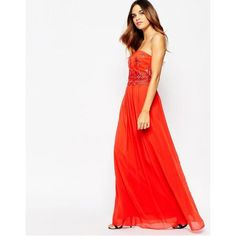 Little Mistress Maxi Dress With Metallic Scalloped Lace Layer Detail