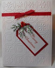 snowflake embossing folder, Christmas tag front