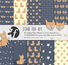 Cute Craft Orange Fox + Stars Scrapbooking Kit /// Paper Pack and Embellishments /// Instant Digital Download. Cheap Beautiful Supplies by FRANCEillustration on Etsy https://www.etsy.com/listing/166425442/cute-craft-orange-fox-stars-scrapbooking