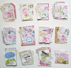 Paper Brooches (Clusters) for Gift packages - Size 2 x 1 approx. - Set of twelve Journal Paper, Junk Journal, Journal Ideas, Journal Inspiration, Bullet Journal, Hobby Lobby Christmas, Diy Scrapbook, Scrapbooking Ideas, Book Markers