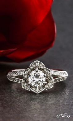 Diamond and Rose Halo Engagement Ring. Green Lake Jewelry 116423
