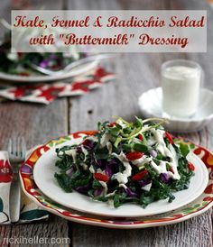 """Kale Salad with Fennel and Radicchio in a Creamy (naturally proboiotic-rich) """"Buttermilk"""" Dressing (#vegan #grainfree #recipe)"""
