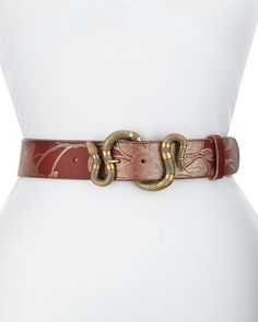 Leather Belt with Snake Buckle, Gucci