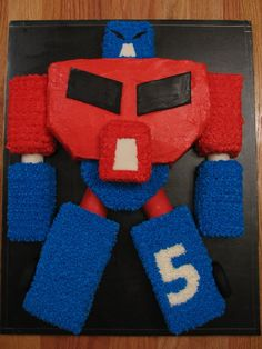 Optimus Prime Transformer Cake - This was a cake pieced together and iced with buttercream.  Took a while to complete with all the pieces, but the children loved it.