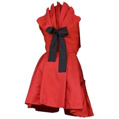 Preowned Christian Lacroix Red Taffeta Bow Dress (£1,540) ❤ liked on Polyvore featuring dresses, red, origami dress, red bow dress, taffeta cocktail dress, vintage taffeta dress and pleated dress