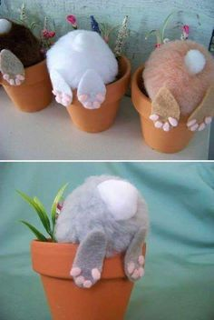 Curious little bunny pots: Top 27 Cute and Money Saving DIY Crafts to Welcom. - DIY and crafts - Curious little bunny pots: Top 27 Cute and Money Saving DIY Crafts to Welcome The Easter - Kids Crafts, Bunny Crafts, Cute Crafts, Diy And Crafts, Easy Diy Crafts, Family Crafts, Craft Ideas For The Home, Rabbit Crafts, Unicorn Crafts