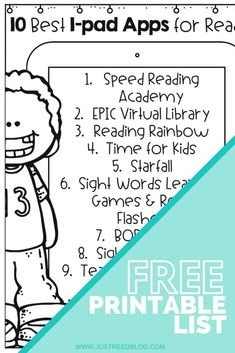Get this FREE PRINTABLE list of the ten best reading apps for kindergarten, first grade, and second grade.