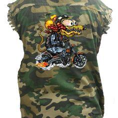 e2b1a868eb Men s Camo Sleeveless Denim Shirt Crazy Biker Mouse Denim Vest  fashion   clothing  shoes