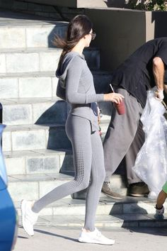 Kendall Jenner wearing Adidas Ultra Boost J&D Sneakers