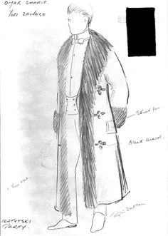 Check out this image from TCM. Wardrobe sketch for Omar Sharif as Yuri Zhivago. Turner Classic Movies, Classic Films, Dr Zhivago, Doctor Zhivago, Tom Courtenay, Alec Guinness, Julie Christie, Movie Tickets, Drama Film